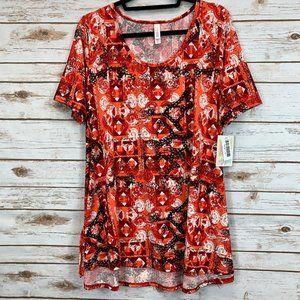 LuLaRoe Perfect T XL Red/Coral/Black NWT